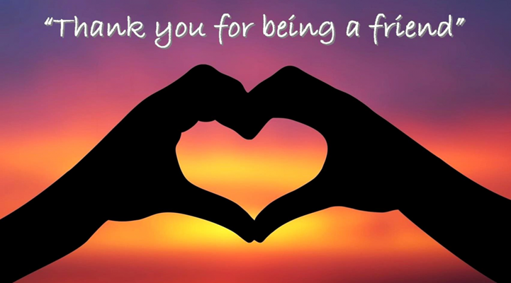 hands forming heart with thank you for being a friend message