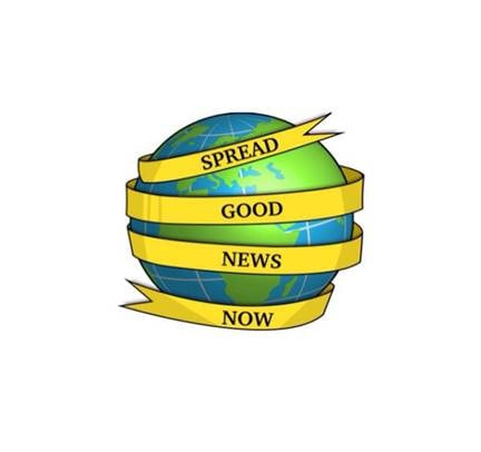 graphic with spread good news now on yellow ribbon wrapped around earth