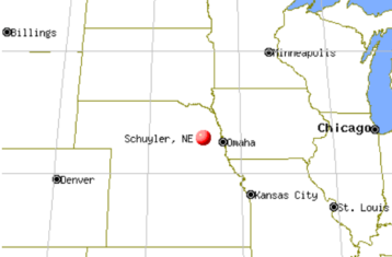 map showing schuyler nebraska