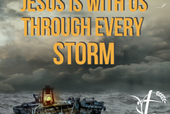 graphic featuring jesus is with us through every storm message
